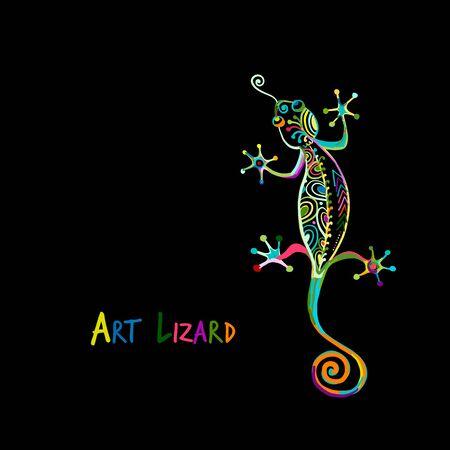 Ozdobna jaszczurka kolorowa na czarnym tle dla swojego projektu