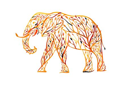 Elephant shape made from tree leaves. Save the earth. Vector design