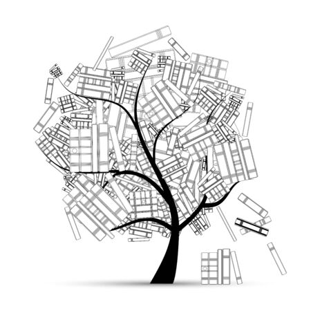Library tree with book for your design 일러스트