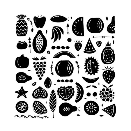 Fruits collection, creative background for your design Иллюстрация