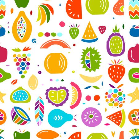 Fruits collection, creative seamless background for your design