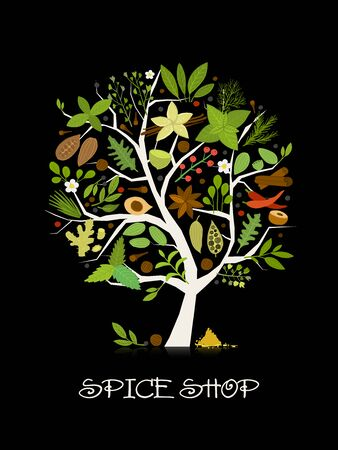 Spice shop, concept image, herbs and spices collection on tree for your design