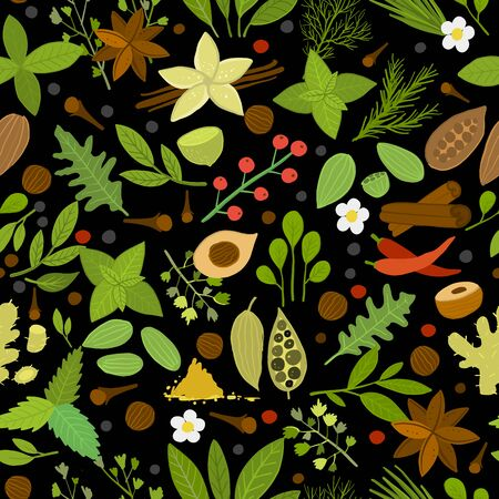Herbs and spices background, seamless pattern for your design. Vector illustration Çizim