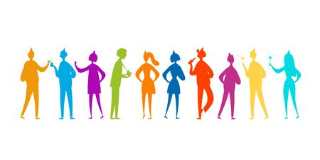 Student party with friends, boys and girls. Funny people characters. Silhouettes for your design