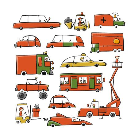 Baby toy cars collection for your design. Vector illustration