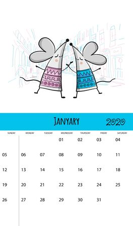 Funny mouses and travel, symbol of 2020 year. Calendar design Stock Illustratie