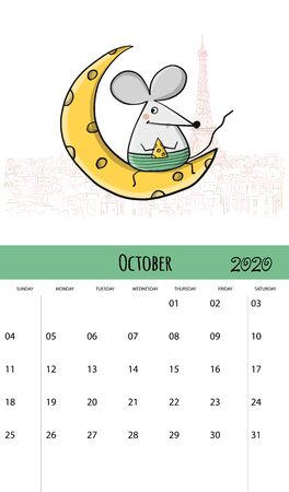 Funny mouses and travel, symbol of 2020 year. Calendar design Stockfoto - 132093112