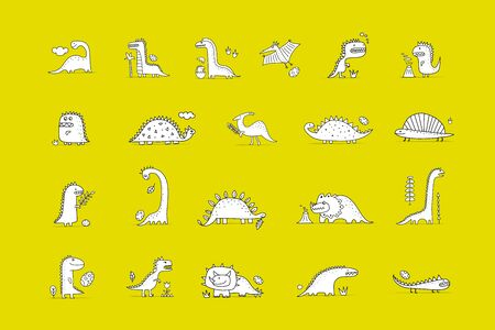 Funny dinosaurs collection, childish style. Coloring page for your design. Vector illustration Ilustracja
