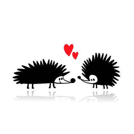 Funny hedgehogs in love, black silhouette for your design Иллюстрация