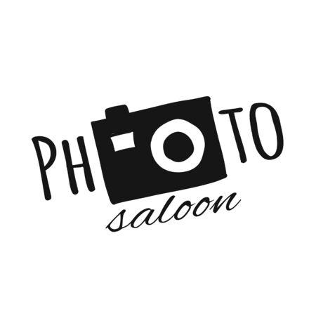 Cámara de fotos, salón de fotos con logo