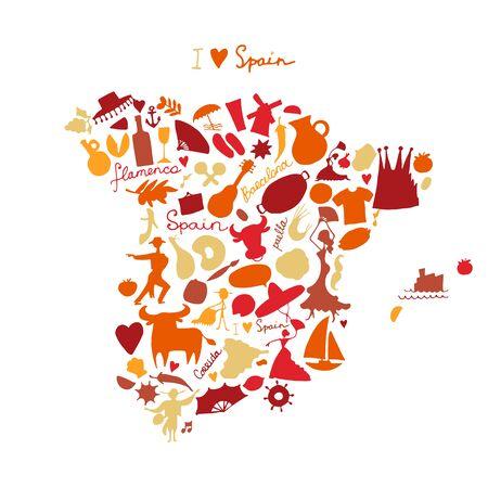 Spain map made from design elements. Sketch design. Vector illustration 일러스트