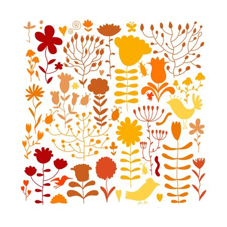 Floral meadow, sketch for your design. Vector illustration