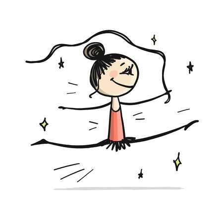 Rhytmic gymnastic. Cute girl, sketch for your design Ilustrace