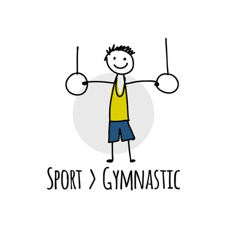 Sport icon design. Gymnast on the rings