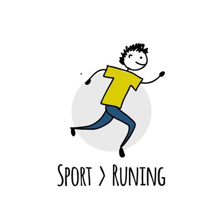Sport icon design. Runner character