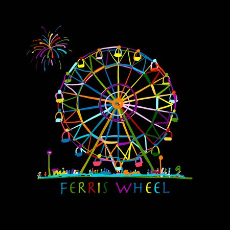 Ferris wheel at night, sketch for your design