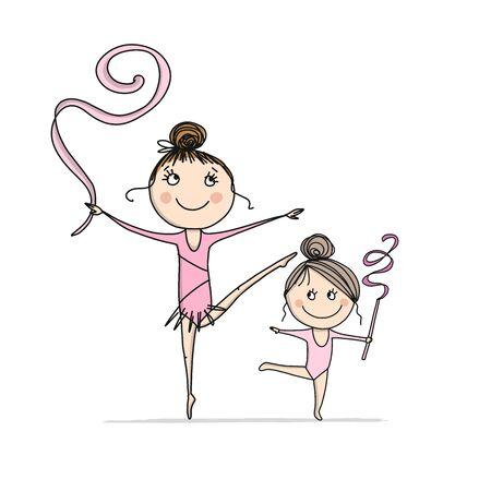 Rhytmic gymnastic. Cute girls, sketch for your design Ilustrace