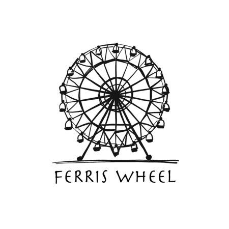 Grande roue, croquis pour votre conception Vecteurs