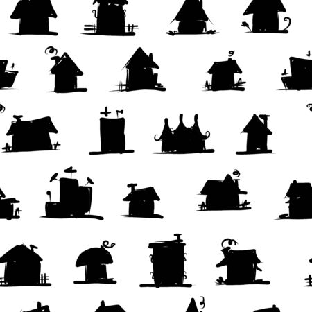 Sketch of art houses, seamless pattern for your design