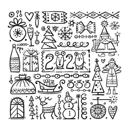 Christmas background, sketch for your design. Vector illustration