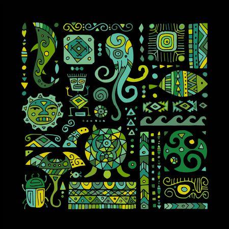 Ethnic handmade ornament for your design. Polynesian style 向量圖像