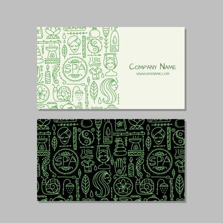 Business card design horizontal. Spa salon background