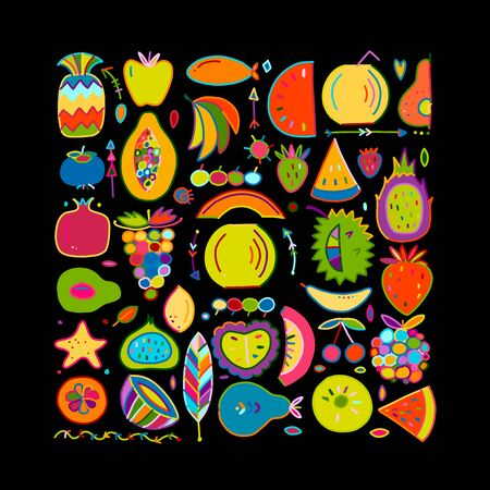 Fruits collection, creative background for your design Illusztráció