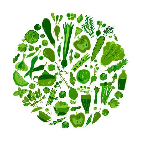 Fondo de verduras verdes para su diseño Ilustración de vector