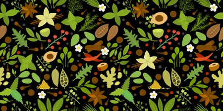 Herbs and spices background, seamless pattern for your design. Vector illustration Vettoriali