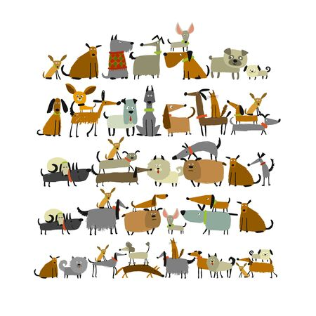 Cute dogs collection, sketch for your design Ilustração