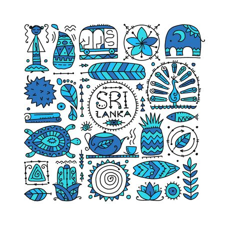 Sri Lanka travel, art background. Tribal elements for your design 向量圖像