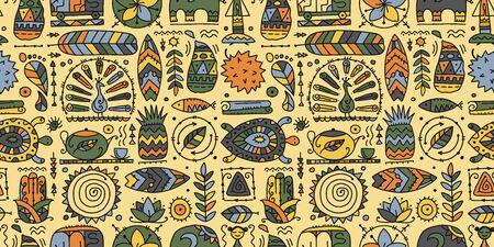 Sri Lanka art travel, tribal seamless pattern for your design. Vector illustration Иллюстрация