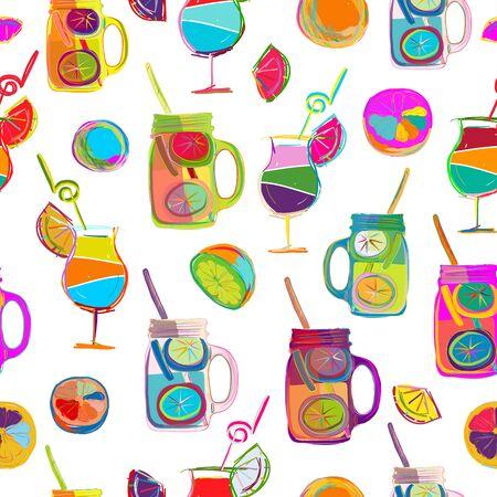 Pop art citrus party, seamless background design. Vector illustration  イラスト・ベクター素材