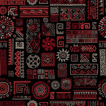 Ethnic handmade ornament, seamless pattern, vector illustration Ilustracja