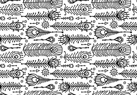 Peacock feather collection, ethnic style, seamless pattern for your design. Vector illustration