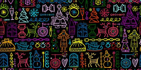 Christmas seamless background, sketch for your design. Vector illustration