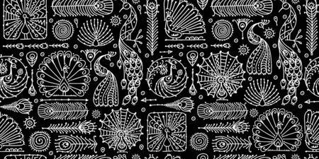Peacock collection, ethnic style, seamless pattern for your design. Vector illustration