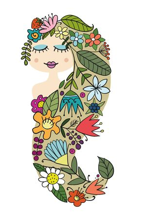 Pretty female face with floral hairstyle for your design