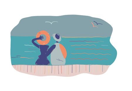 Couple relaxing on beach resort. Vector illustration