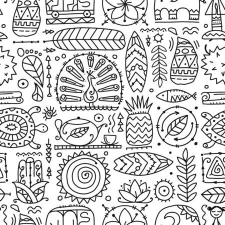 Sri Lanka art travel, tribal seamless pattern for your design