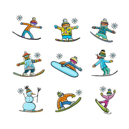 Snowboarders collection, sketch for your design Vektorové ilustrace