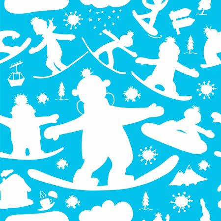Snowboard time, seamless pattern for your design 向量圖像