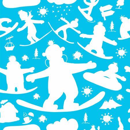 Snowboard time, seamless pattern for your design Ilustração