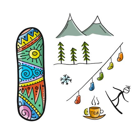 Snowboard time, winter holiday, sketch for your design. Vector illustration