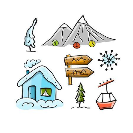 Ski resort, winter holiday, sketch for your design. Vector illustration