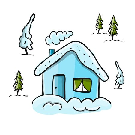Drawing of winter house in forest. Vector illustration.