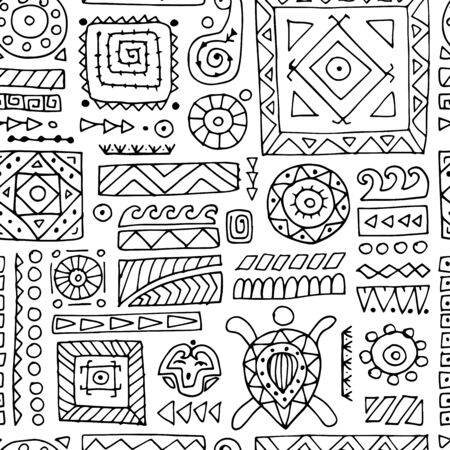 Ethnic handmade ornament. Seamless pattern for your design. Polynesian style