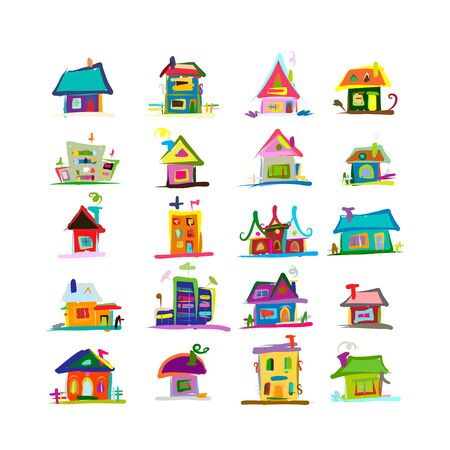 Sketch of art houses for your design Ilustracja