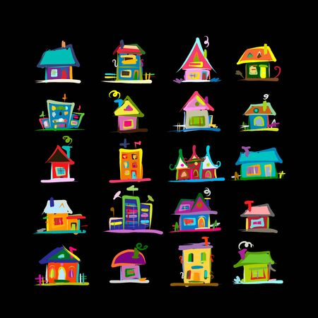 Sketch of art houses for your design Stock Illustratie