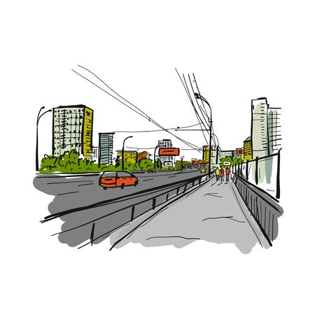 Sketch of traffic road in city for your design. Vector illustration